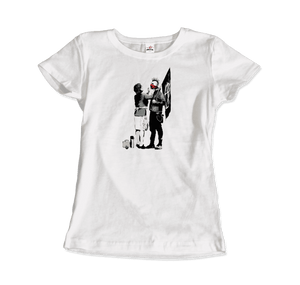 Banksy Anarchist Punk And His Mother Artwork T-Shirt - Women / White / Small by Art-O-Rama