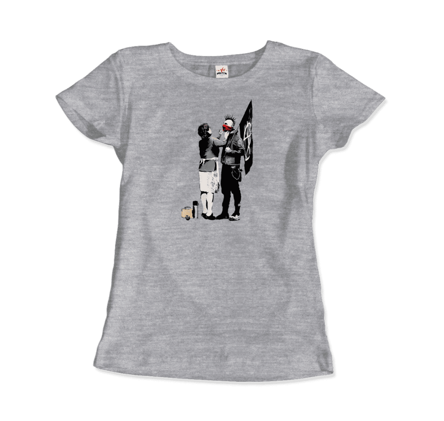 Banksy Anarchist Punk And His Mother Artwork T-Shirt - Women / Heather Grey / Small by Art-O-Rama