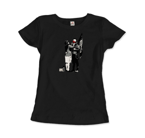 Banksy Anarchist Punk And His Mother Artwork T-Shirt - Women / Black / Small by Art-O-Rama
