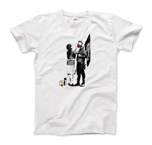 Banksy Anarchist Punk And His Mother Artwork T-Shirt - Men / White / Small by Art-O-Rama