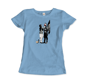 Banksy Anarchist Punk And His Mother Artwork T-Shirt - Women / Light Blue / Small by Art-O-Rama