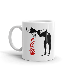 Banksy Lovesick Girl Throwing Up Hearts Artwork Mug - 11oz (325mL) - Mug