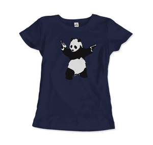 Banksy Pandamonium Armed Panda Artwork T-Shirt - Women / Navy / Small by Art-O-Rama