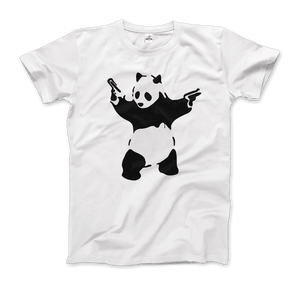 Banksy Pandamonium Armed Panda Artwork T-Shirt - Men / White / Small by Art-O-Rama