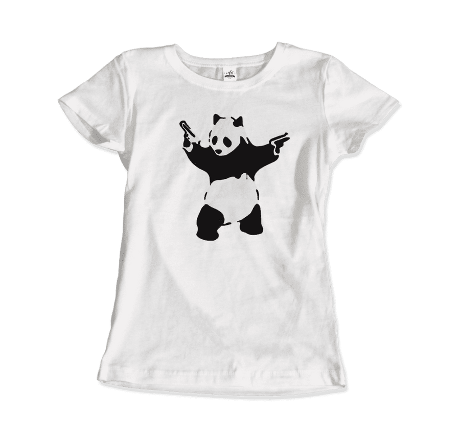 Banksy Pandamonium Armed Panda Artwork T-Shirt - Women / White / Small by Art-O-Rama