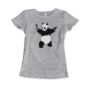 Banksy Pandamonium Armed Panda Artwork T-Shirt - Women / Heather Grey / Small by Art-O-Rama