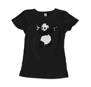 Banksy Pandamonium Armed Panda Artwork T-Shirt - Women / Black / Small by Art-O-Rama