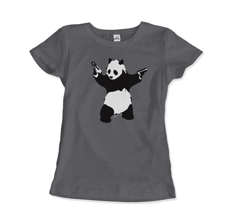 Banksy Pandamonium Armed Panda Artwork T-Shirt - Women / Charcoal / Small by Art-O-Rama