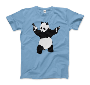Banksy Pandamonium Armed Panda Artwork T-Shirt - Men / Light Blue / Small by Art-O-Rama