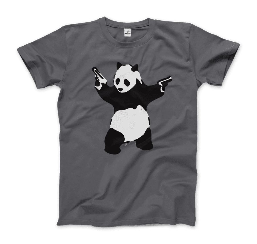 Banksy Pandamonium Armed Panda Artwork T-Shirt - Men / Charcoal / Small by Art-O-Rama