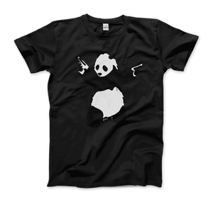 Banksy Pandamonium Armed Panda Artwork T-Shirt - Men / Black / Small by Art-O-Rama