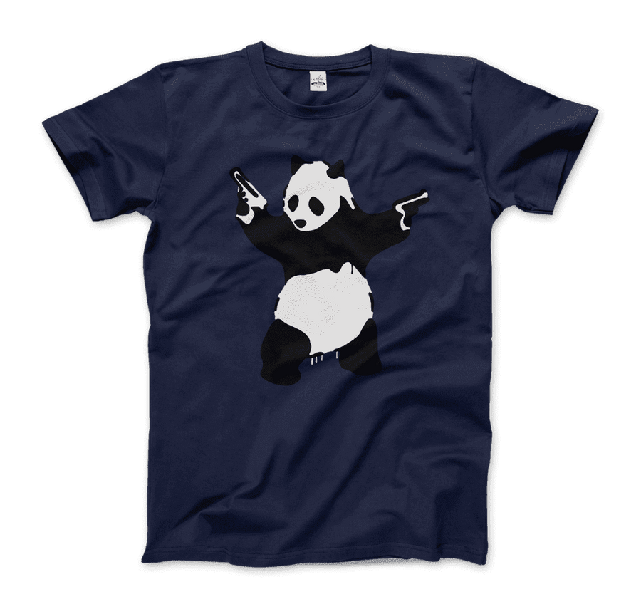 Banksy Pandamonium Armed Panda Artwork T-Shirt - Men / Navy / Small by Art-O-Rama