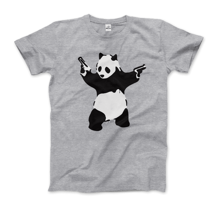 Banksy Pandamonium Armed Panda Artwork T-Shirt - Men / Heather Grey / Small by Art-O-Rama