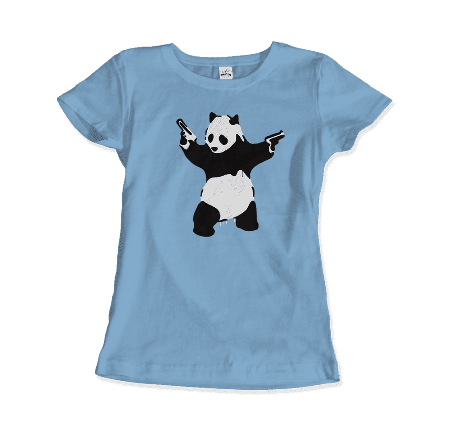 Banksy Pandamonium Armed Panda Artwork T-Shirt - Women / Light Blue / Small by Art-O-Rama