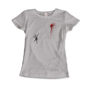Banksy Valentines Day Mural Reproduction T-Shirt - Women / Silver / Small by Art-O-Rama