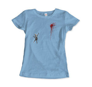 Banksy Valentines Day Mural Reproduction T-Shirt - Women / Light Blue / Small by Art-O-Rama