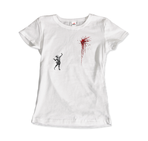 Banksy Valentines Day Mural Reproduction T-Shirt - Women / White / Small by Art-O-Rama
