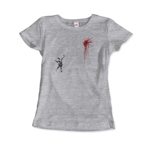 Banksy Valentines Day Mural Reproduction T-Shirt - Women / Heather Grey / Small by Art-O-Rama