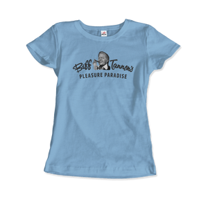 Biff Tannen's Pleasure Paradise Dusted Logo - Back to the Future T-Shirt - Women / Light Blue / Small - T-Shirt