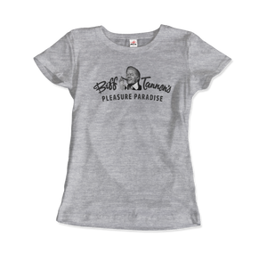 Biff Tannen's Pleasure Paradise Dusted Logo - Back to the Future T-Shirt - Women / Heather Grey / Small - T-Shirt