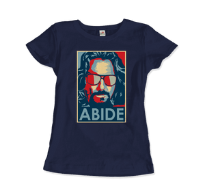 Big Lebowski Abide, Hope Style T-Shirt - Women / Navy / Small by Art-O-Rama