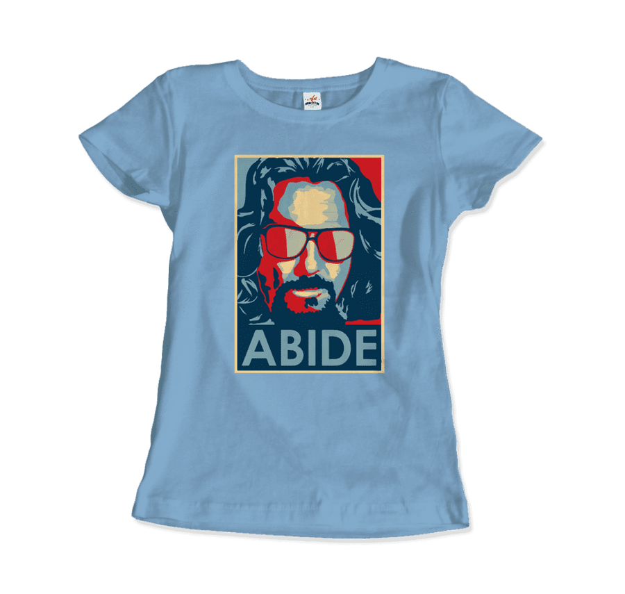 Big Lebowski Abide, Hope Style T-Shirt - Women / Light Blue / Small by Art-O-Rama