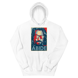 Big Lebowski Abide, Hope Style Artwork Unisex Hoodie - White / S by Art-O-Rama