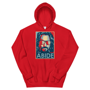 Big Lebowski Abide, Hope Style Artwork Unisex Hoodie - Red / S by Art-O-Rama