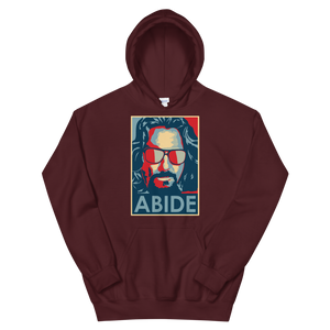 Big Lebowski Abide, Hope Style Artwork Unisex Hoodie - Maroon / S by Art-O-Rama