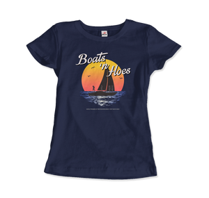 Boats and Hoes, Step Brothers Artwork T-Shirt - Women / Navy / Small by Art-O-Rama