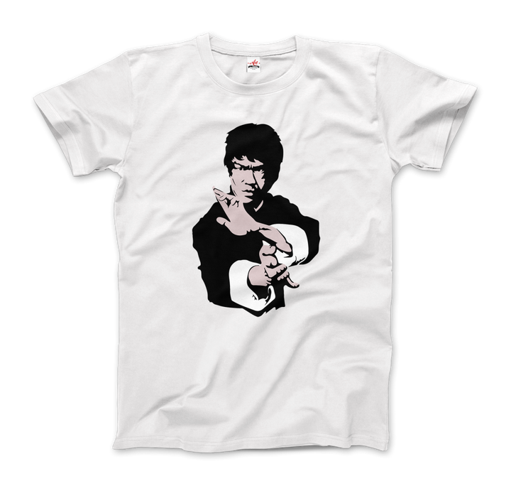 Bruce Lee Doing his Famous Kung Fu Pose T-Shirt - Men / White / Small by Art-O-Rama