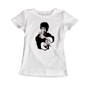 Bruce Lee Doing his Famous Kung Fu Pose T-Shirt - Women / White / Small by Art-O-Rama