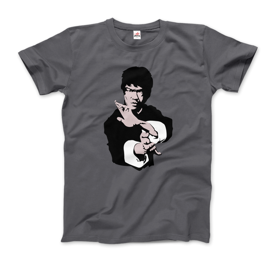 Bruce Lee Doing his Famous Kung Fu Pose Artwork T-Shirt - Men / Charcoal / Small by Art-O-Rama