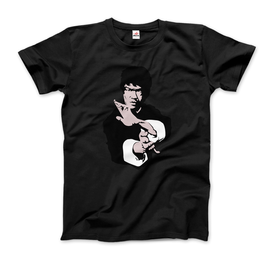 Bruce Lee Doing his Famous Kung Fu Pose Artwork T-Shirt - Men / Black / Small by Art-O-Rama