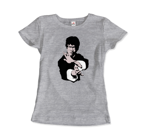 Bruce Lee Doing his Famous Kung Fu Pose Artwork T-Shirt - Women / Heather Grey / Small by Art-O-Rama