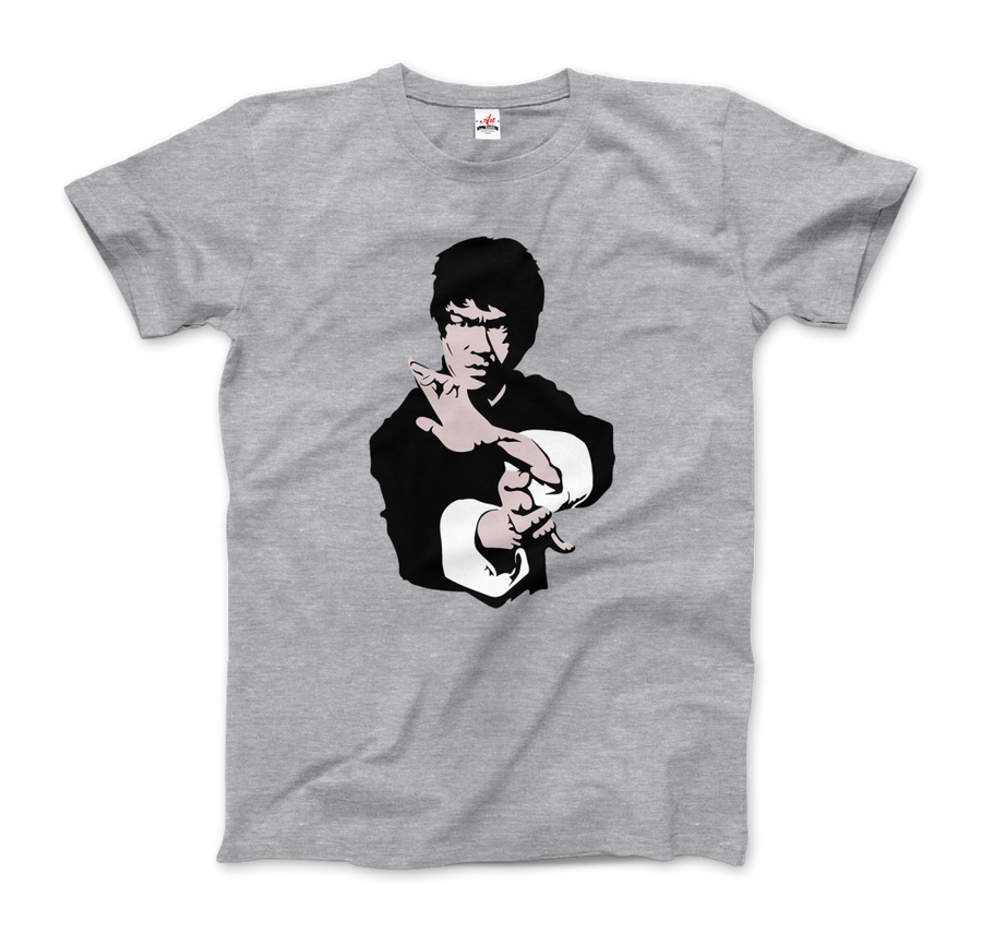 Bruce Lee Doing his Famous Kung Fu Pose Artwork T-Shirt - Men / Heather Grey / Small by Art-O-Rama