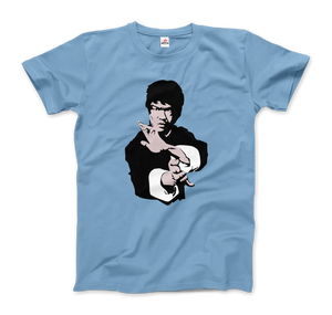Bruce Lee Doing his Famous Kung Fu Pose Artwork T-Shirt - Men / Light Blue / Small by Art-O-Rama