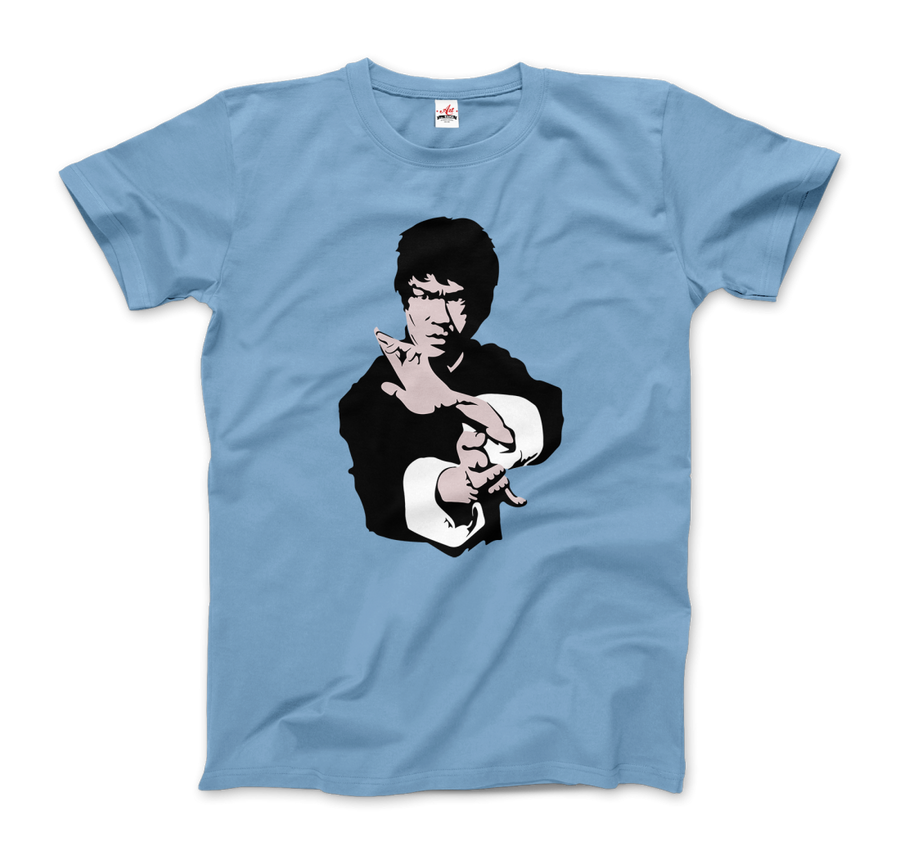 Bruce Lee Doing his Famous Kung Fu Pose T-Shirt - Men / Light Blue / Small by Art-O-Rama