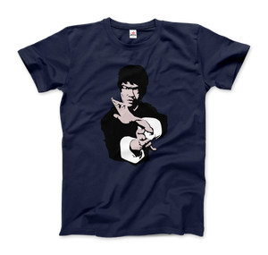 Bruce Lee Doing his Famous Kung Fu Pose T-Shirt - Men / Navy / Small by Art-O-Rama