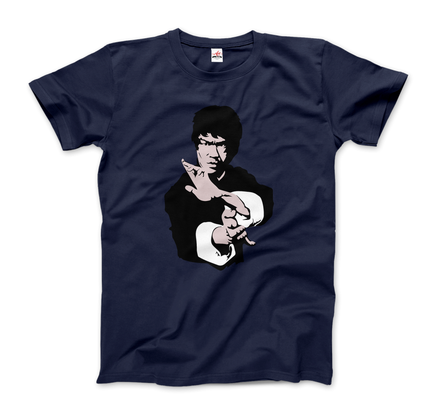Bruce Lee Doing his Famous Kung Fu Pose Artwork T-Shirt - Men / Navy / Small by Art-O-Rama