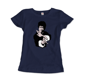 Bruce Lee Doing his Famous Kung Fu Pose T-Shirt - Women / Navy / Small by Art-O-Rama