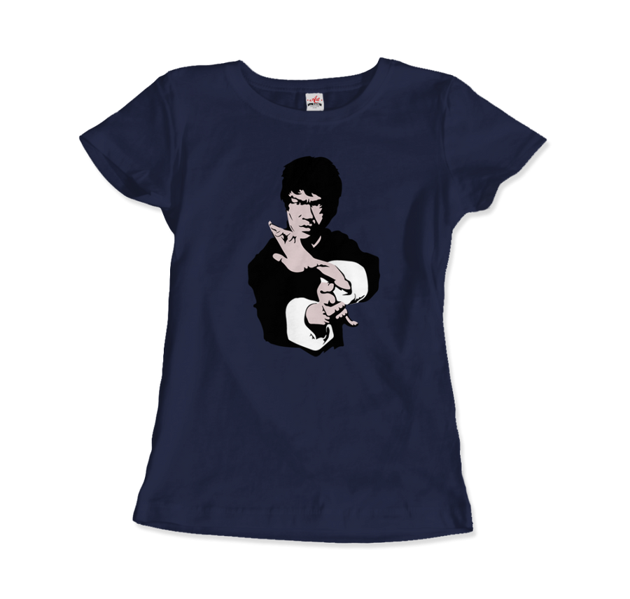 Bruce Lee Doing his Famous Kung Fu Pose Artwork T-Shirt - Women / Navy / Small by Art-O-Rama