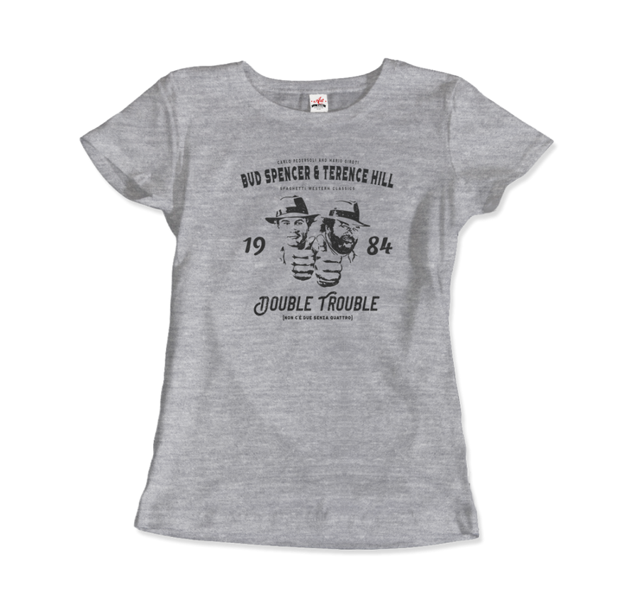 Bud Spencer & Terence Hill Double Trouble T-Shirt - Women / Heather Grey / Small by Art-O-Rama