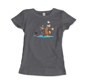 Calvin and Hobbes Dancing with Record Player T-Shirt - Women / Charcoal / Small by Art-O-Rama