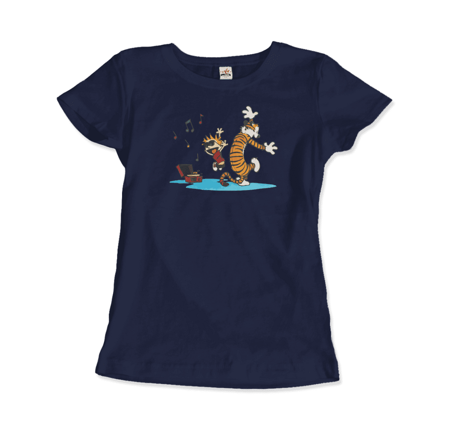 Calvin and Hobbes Dancing with Record Player T-Shirt - Women / Navy / Small by Art-O-Rama