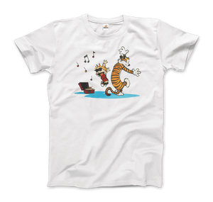 Calvin and Hobbes Dancing with Record Player T-Shirt - Men / White / Small by Art-O-Rama