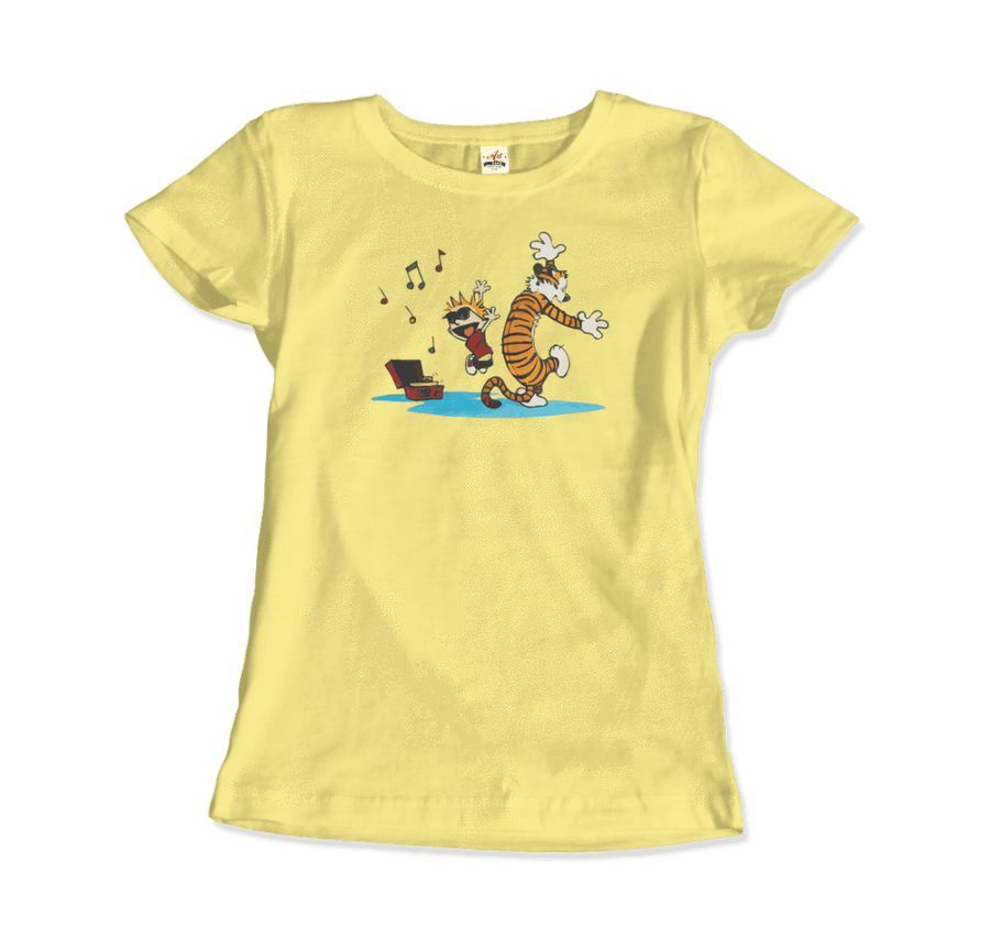 Calvin and Hobbes Dancing with Record Player T-Shirt - Women / Spring Yellow / Small by Art-O-Rama