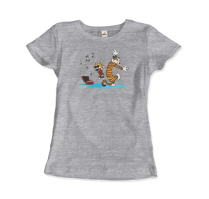 Calvin and Hobbes Dancing with Record Player T-Shirt - Women / Heather Grey / Small by Art-O-Rama