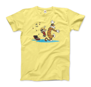 Calvin and Hobbes Dancing with Record Player T-Shirt - Men / Spring Yellow / Small by Art-O-Rama