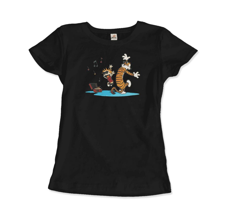 Calvin and Hobbes Dancing with Record Player T-Shirt - Women / Black / Small by Art-O-Rama
